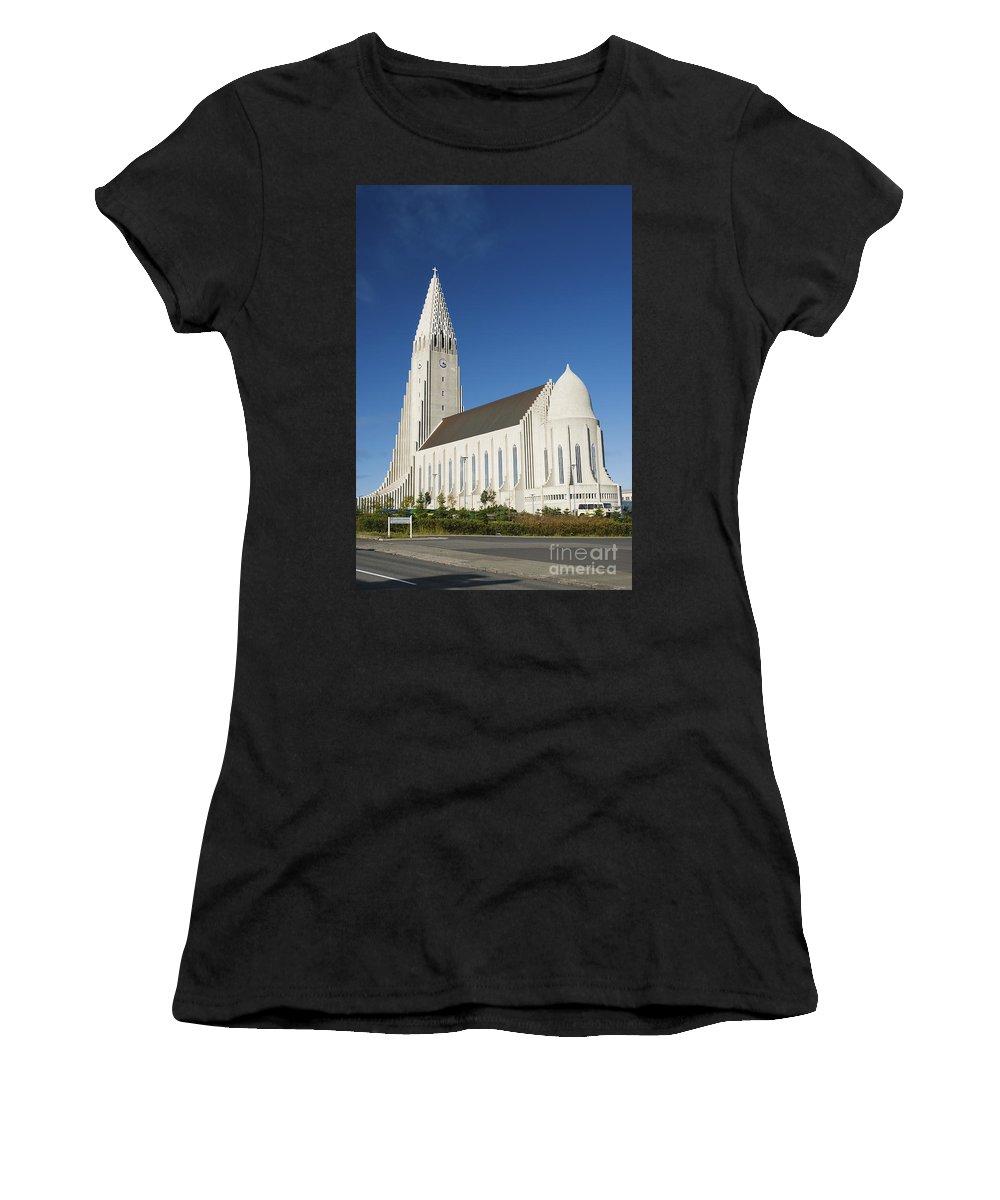 Hallgrimskirkja Women's T-Shirt (Athletic Fit) featuring the photograph Hallgrimskirkja Church In Reykjavik Iceland by Jacek Malipan