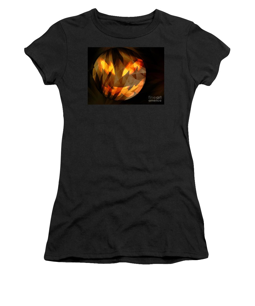 Halloween Moon 2 Women's T-Shirt (Athletic Fit) featuring the digital art Halloween Moon 2 by Elizabeth McTaggart