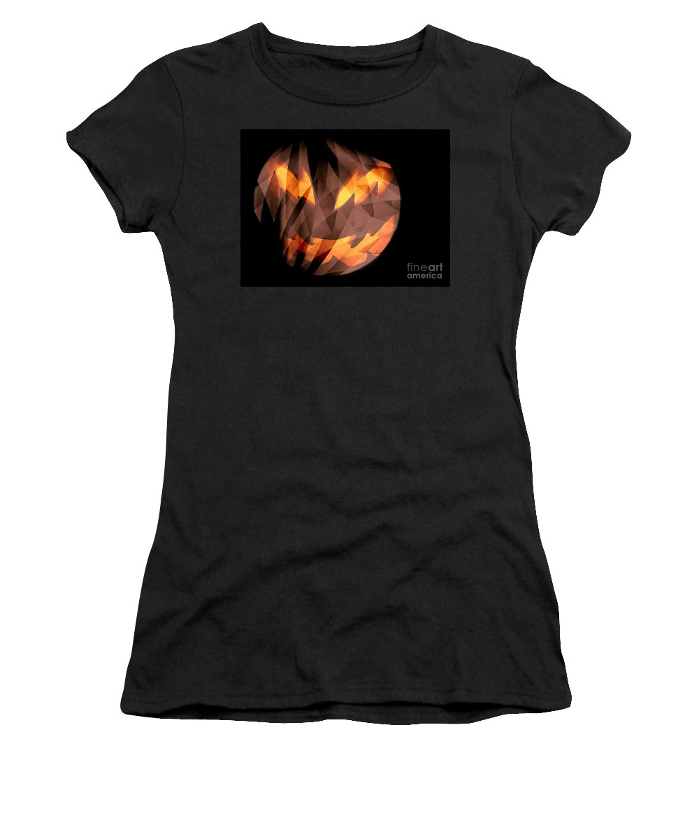 Halloween Moon Women's T-Shirt (Athletic Fit) featuring the digital art Halloween Moon by Elizabeth McTaggart