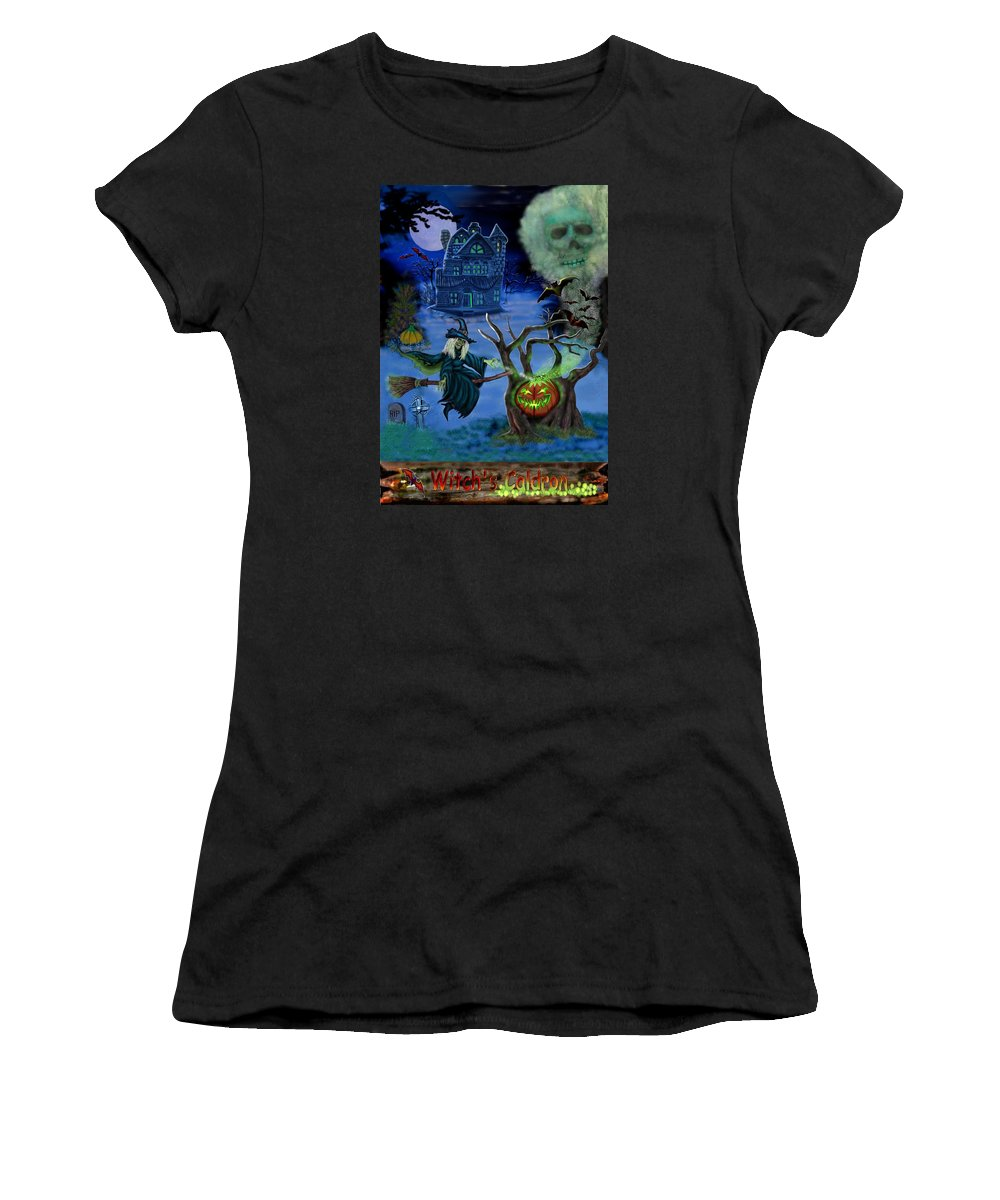 Witch Women's T-Shirt (Athletic Fit) featuring the digital art Halloween Witch's Coldron by Glenn Holbrook