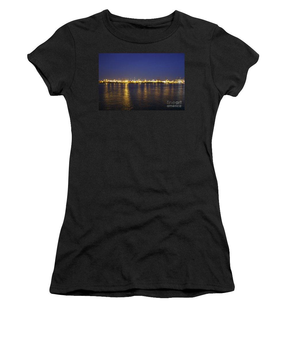 2014 Women's T-Shirt featuring the photograph Hamburg Harbor Skyline by Jannis Werner