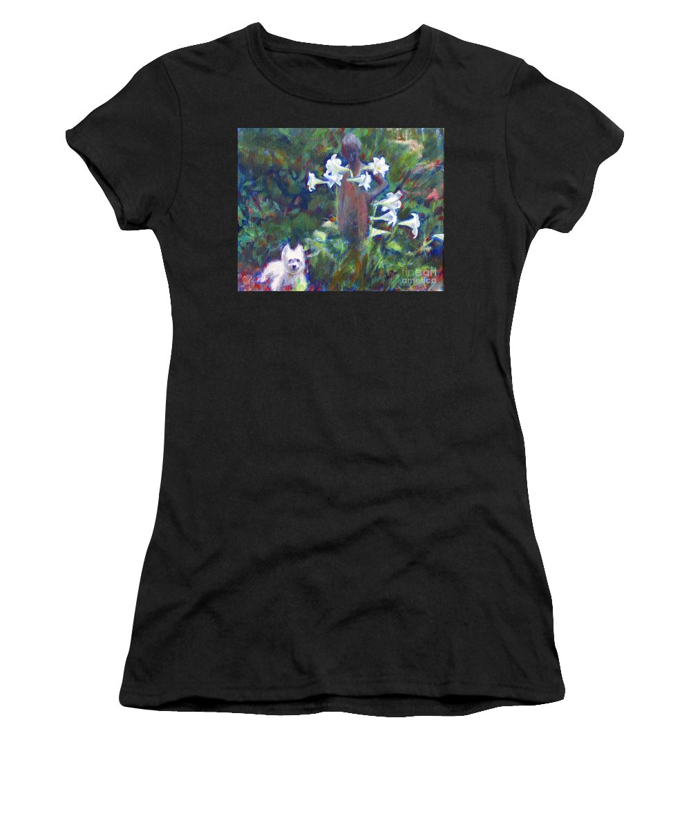 Dog Women's T-Shirt (Athletic Fit) featuring the painting Hamilton In The Garden by Candace Lovely
