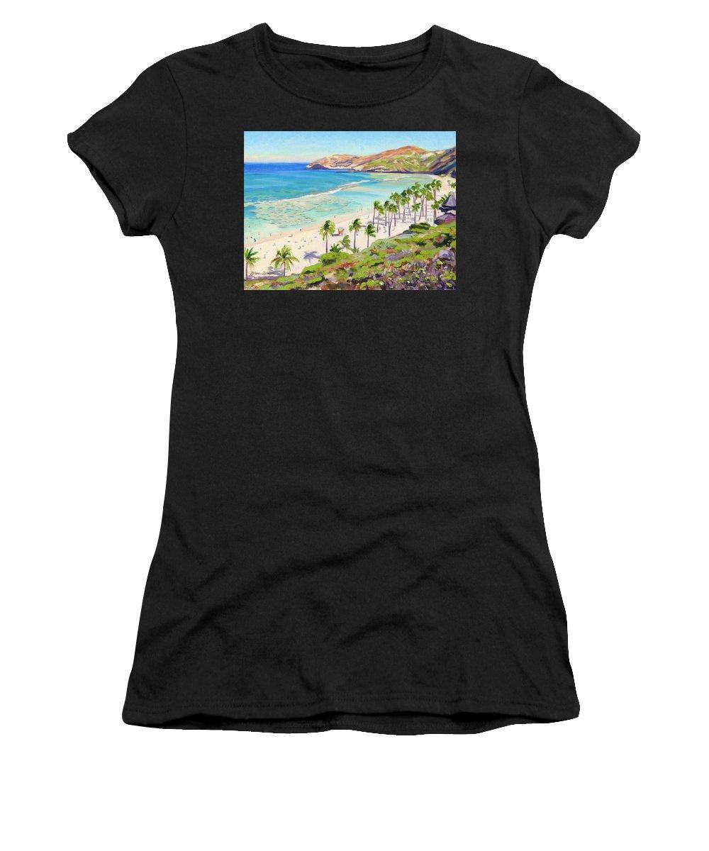 Hanauma Bay Women's T-Shirt (Athletic Fit) featuring the painting Hanauma Bay - Oahu by Steve Simon