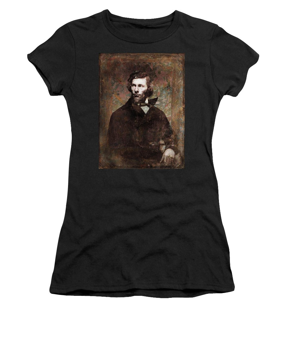 Daguerrotype Women's T-Shirt featuring the painting Handsome Fellow 4 by James W Johnson