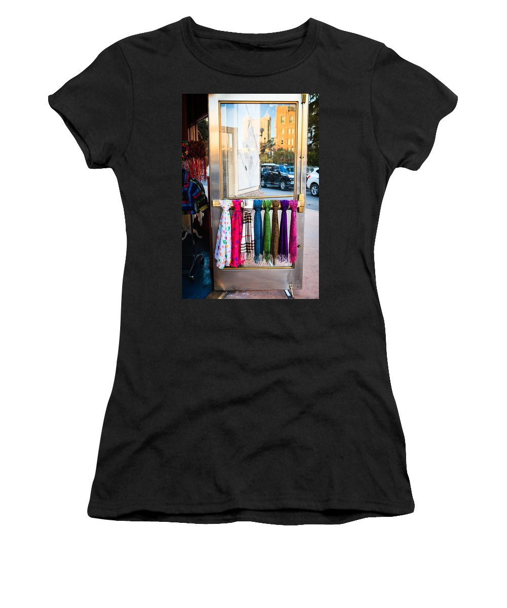 Downtown Women's T-Shirt (Athletic Fit) featuring the photograph Hanging Out By The Door by Melinda Ledsome
