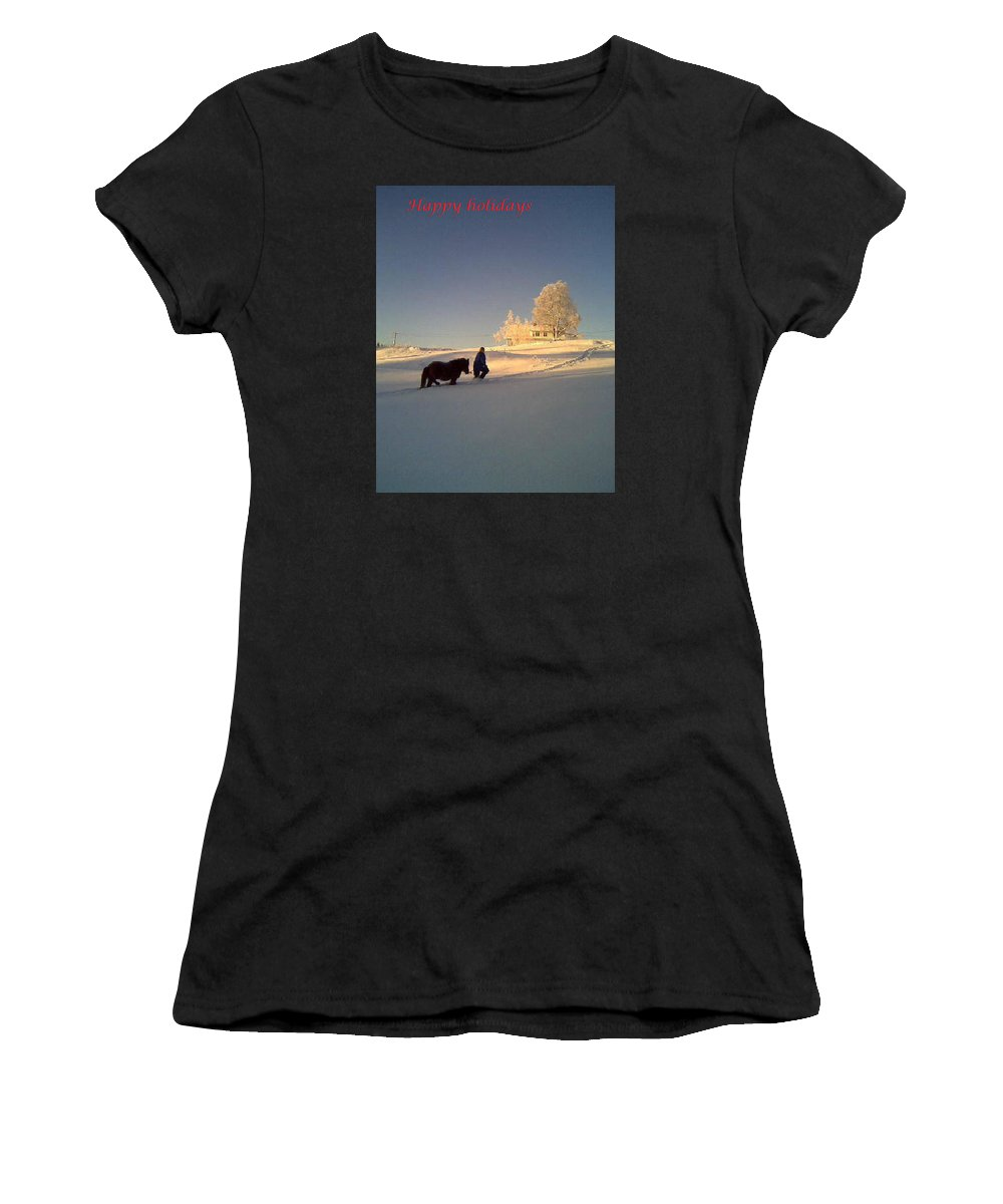 Winter Women's T-Shirt featuring the photograph We Had Happy Holidays But They Were Cold by Hilde Widerberg
