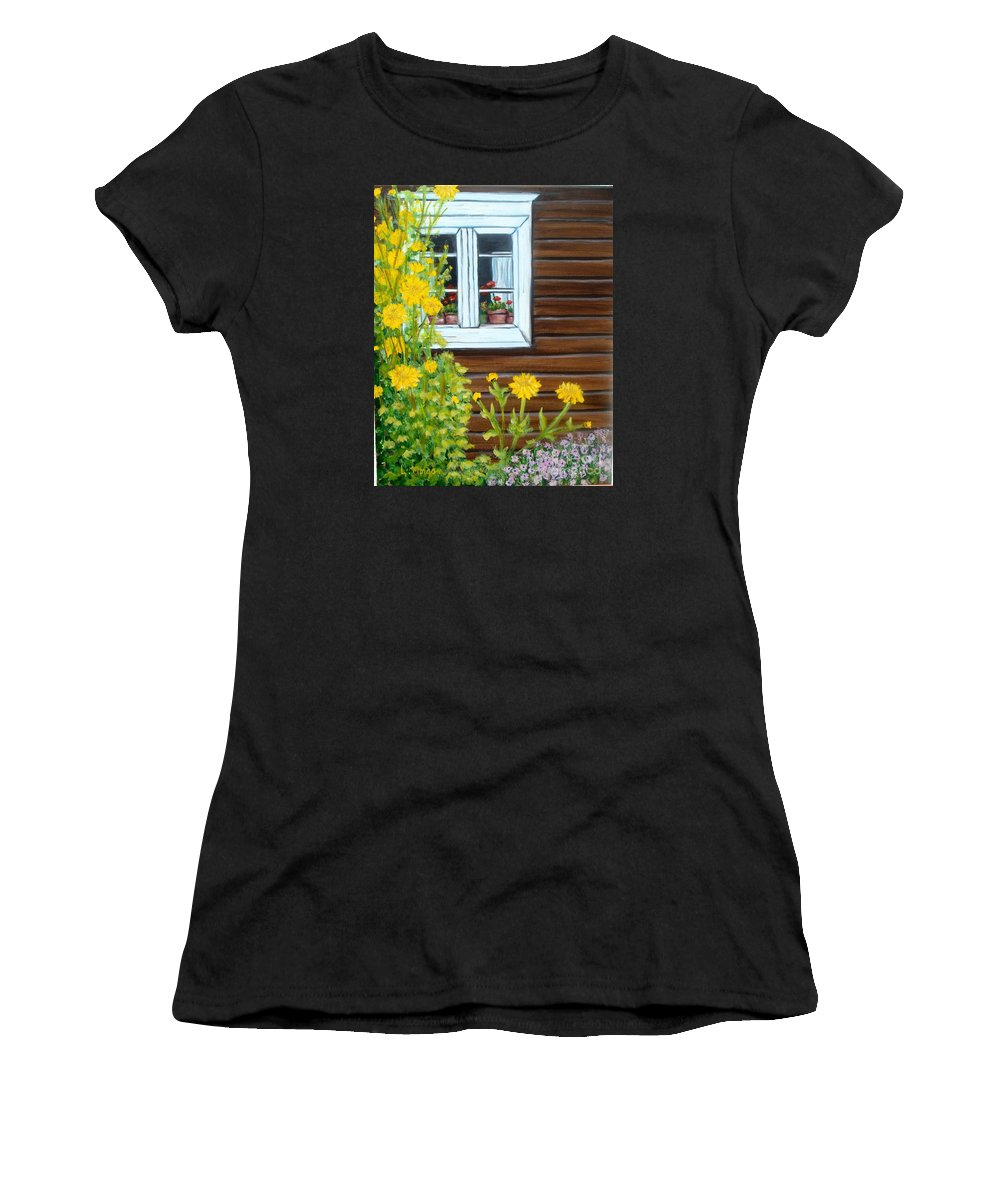 Window Women's T-Shirt (Athletic Fit) featuring the painting Happy Homestead by Laurie Morgan