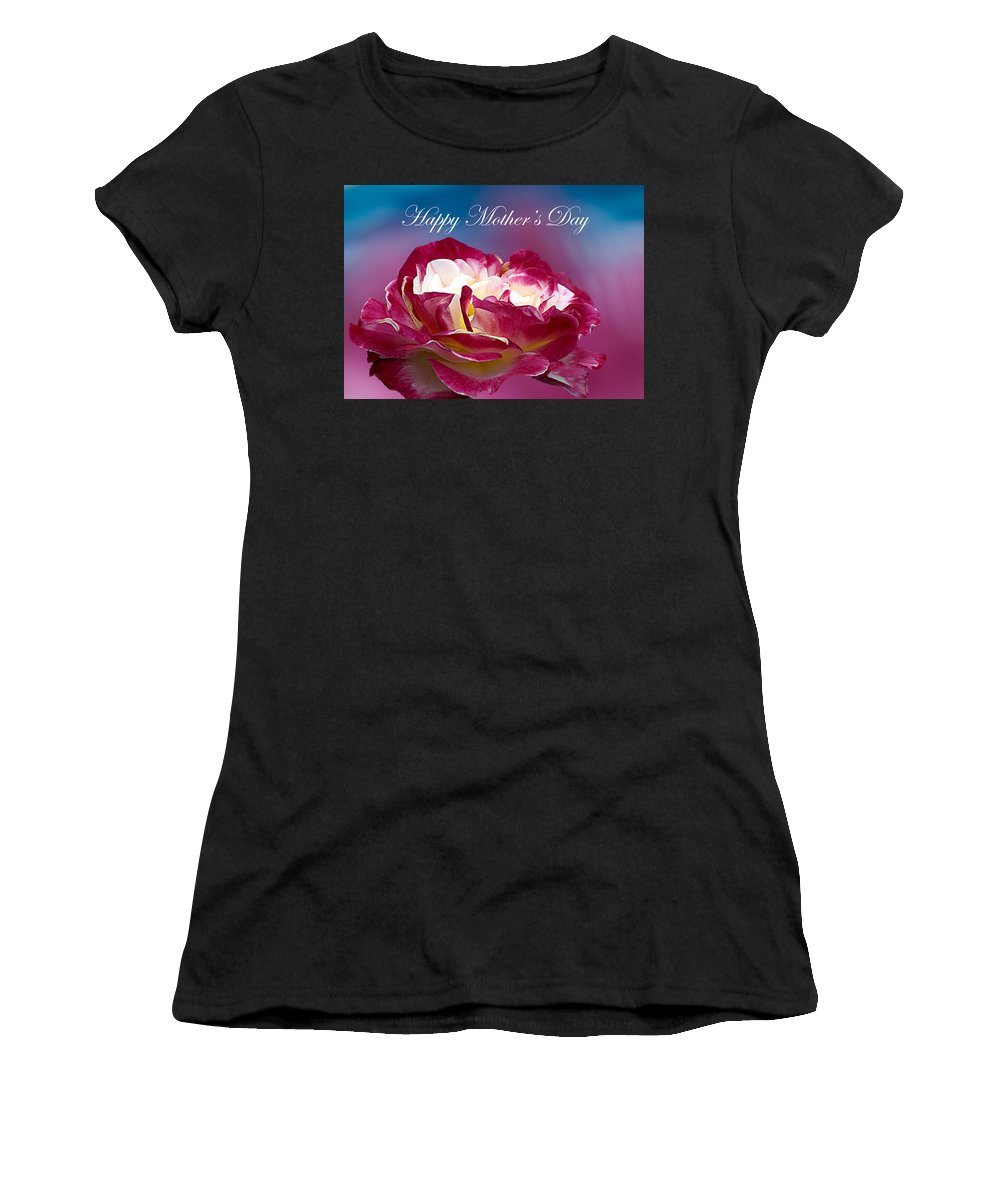 Mother's Day Women's T-Shirt (Athletic Fit) featuring the photograph Happy Mother's Day Red Pink White Rose by Randall Branham