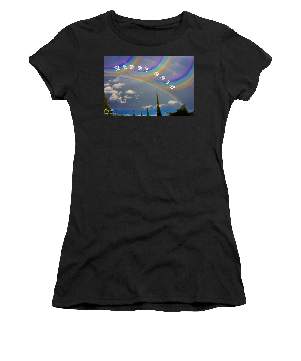 Augusta Stylianou Women's T-Shirt (Athletic Fit) featuring the photograph Happy Rainbows by Augusta Stylianou