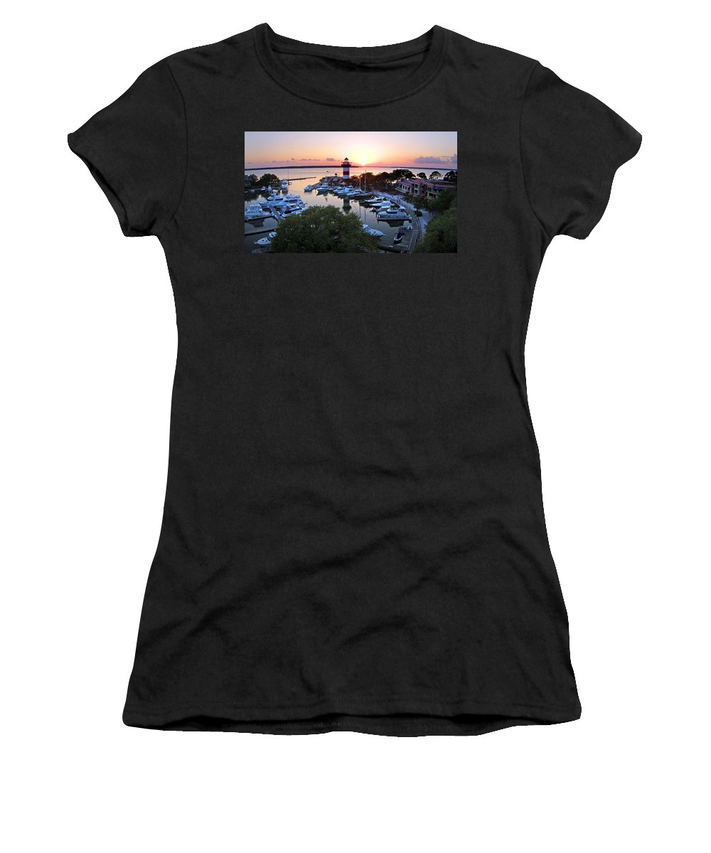 Hilton Head Women's T-Shirt (Athletic Fit) featuring the photograph Harbor Town 4 In Hilton Head by Duane McCullough