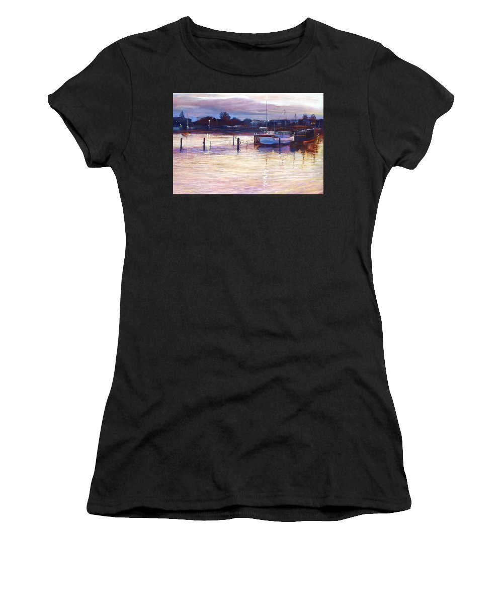 Lynda Robinson Women's T-Shirt (Athletic Fit) featuring the pastel Harbour Lights - Apollo Bay by Lynda Robinson