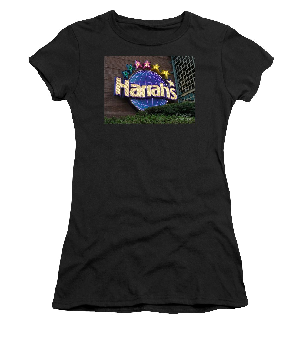 Harrahs Women's T-Shirt featuring the photograph Harrahs Of New Orleans by Saundra Myles