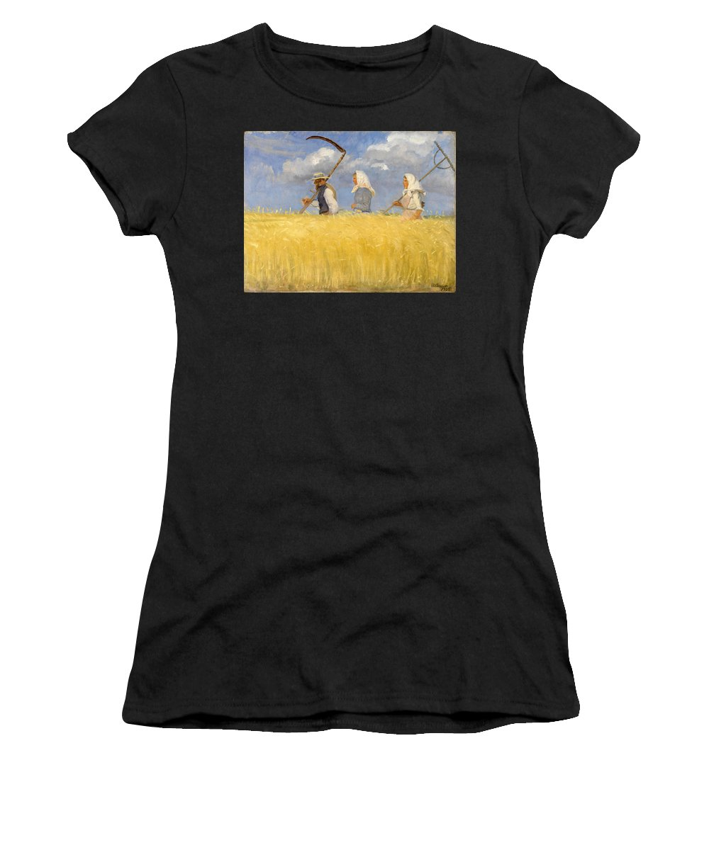 Anna Ancher Women's T-Shirt featuring the painting Harvesters by Anna Ancher