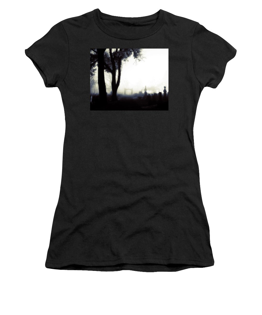 Fog Women's T-Shirt (Athletic Fit) featuring the photograph Haunting On All Hallow's Eve by Gothicrow Images