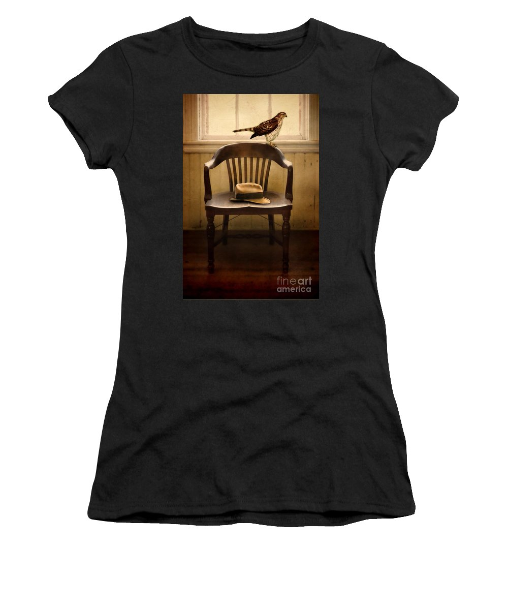Hawk Women's T-Shirt featuring the photograph Hawk And Fedora On Chair by Jill Battaglia