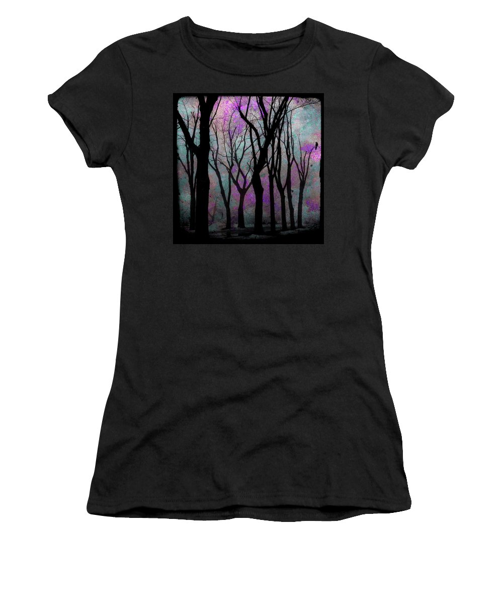 Purple Women's T-Shirt (Athletic Fit) featuring the mixed media Hazy Purple by Gothicrow Images
