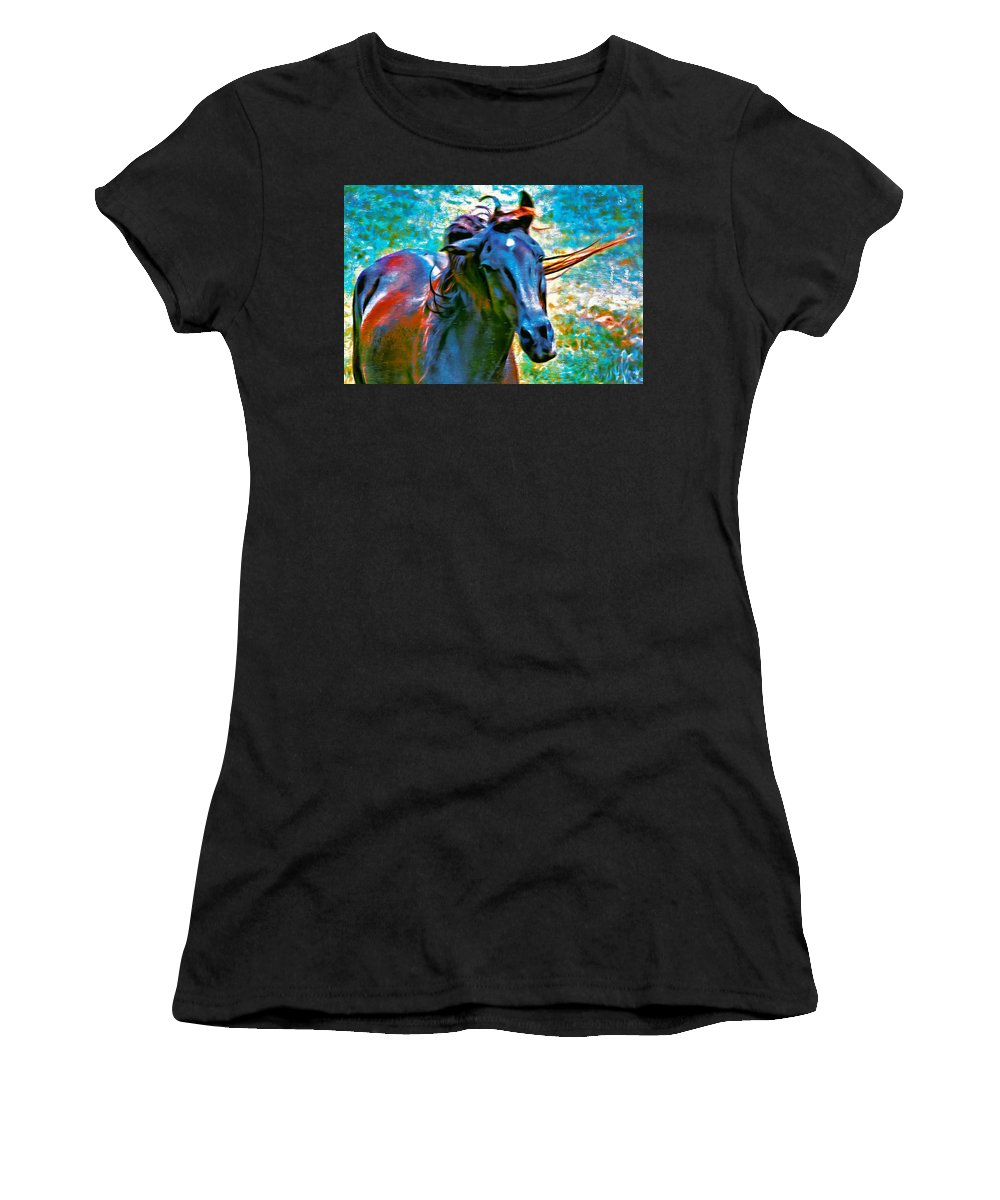 Horse Women's T-Shirt (Athletic Fit) featuring the photograph Headshaker by Alice Gipson