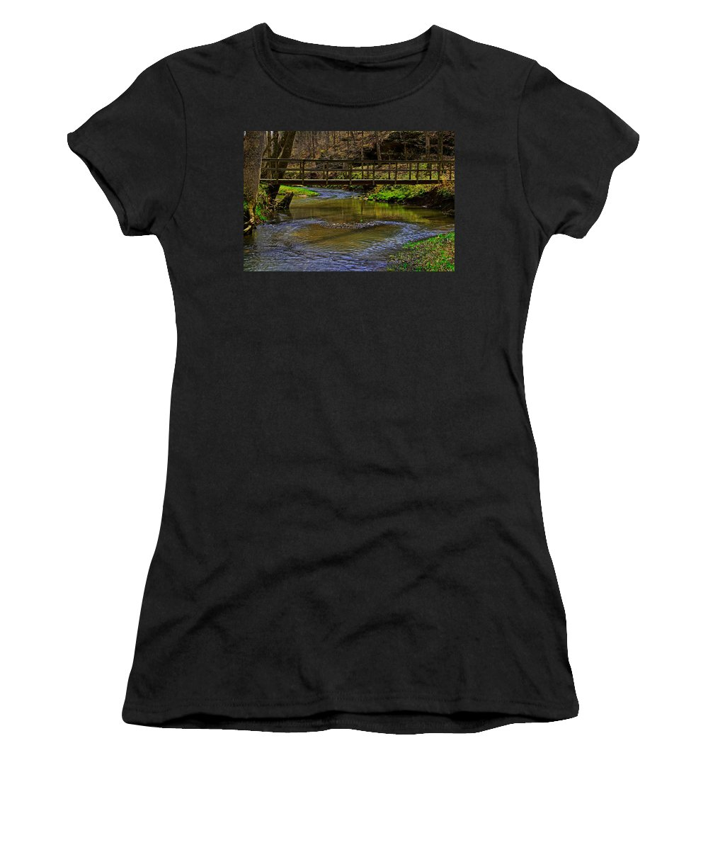 Bridge Women's T-Shirt featuring the photograph Heart Of The Woods by John Mullins