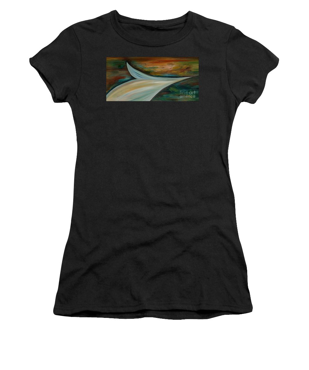 Abstract Women's T-Shirt (Athletic Fit) featuring the painting Heaven by Silvana Abel