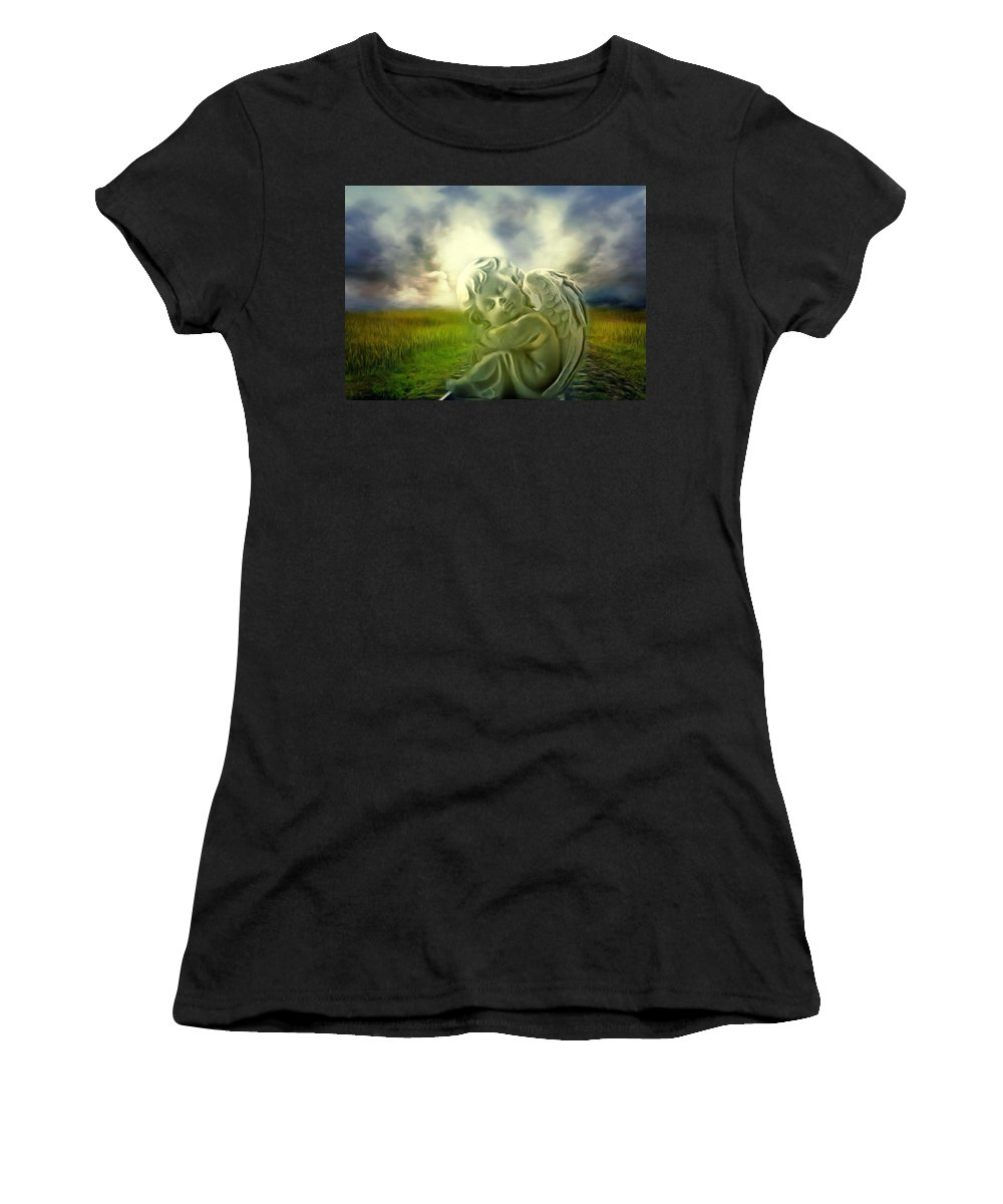 Angel Women's T-Shirt featuring the digital art Heavenly Angels Vintage Cool Version by Georgiana Romanovna