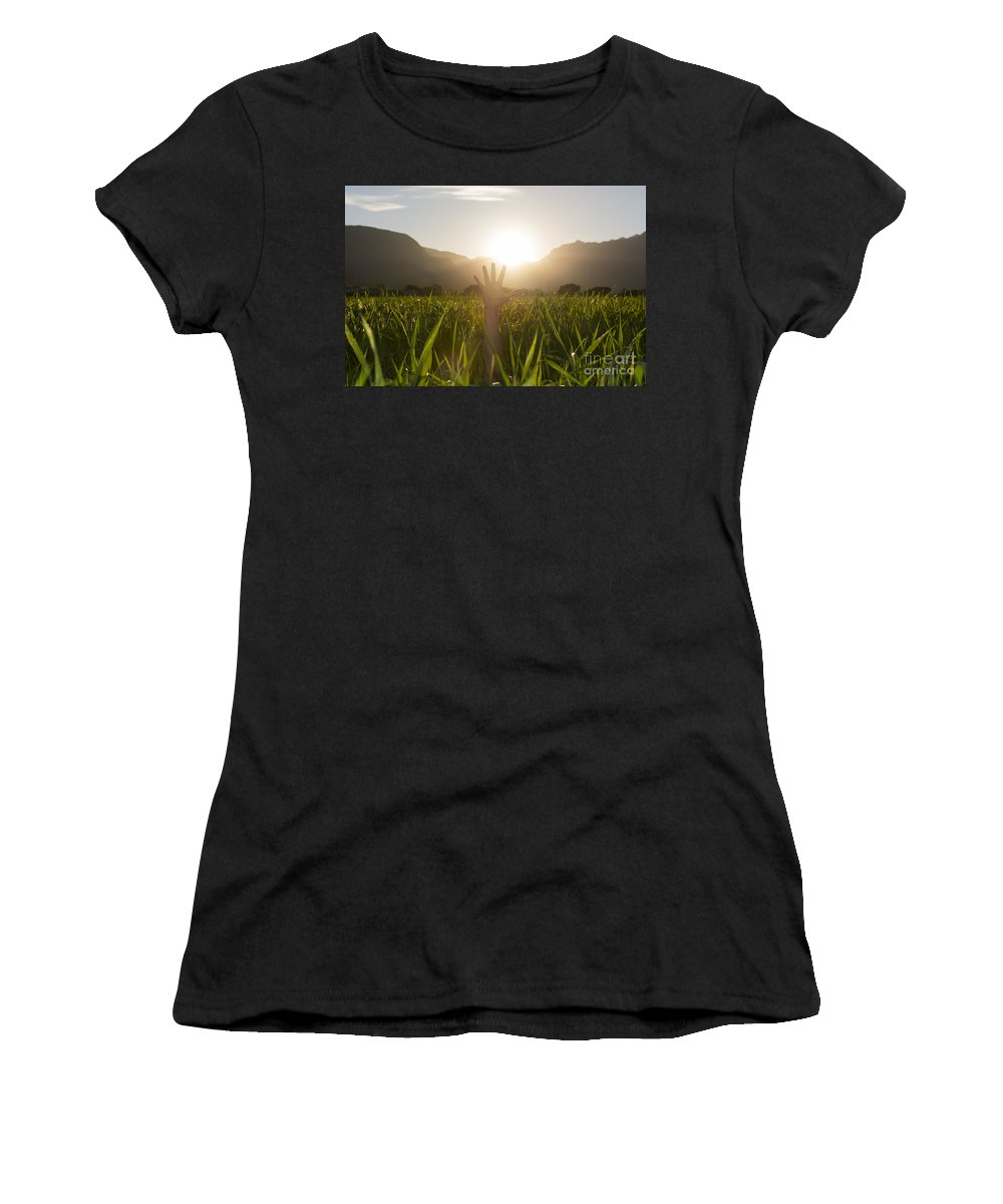Woman Women's T-Shirt (Athletic Fit) featuring the photograph Heelllpppp by Mats Silvan