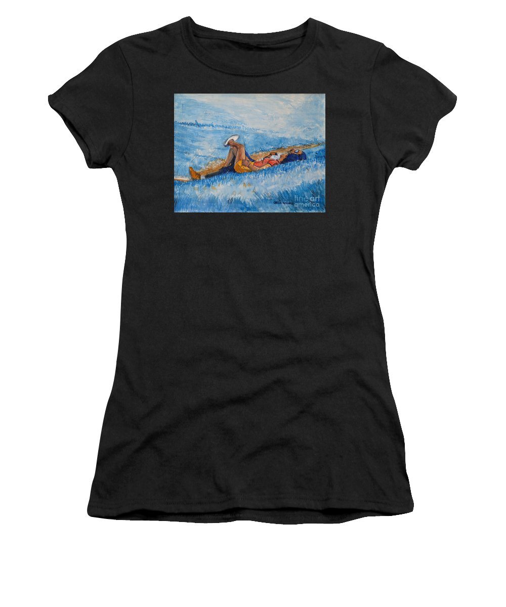 Young Women's T-Shirt (Athletic Fit) featuring the painting Hello Young Lovers In Blue by Charles M Williams