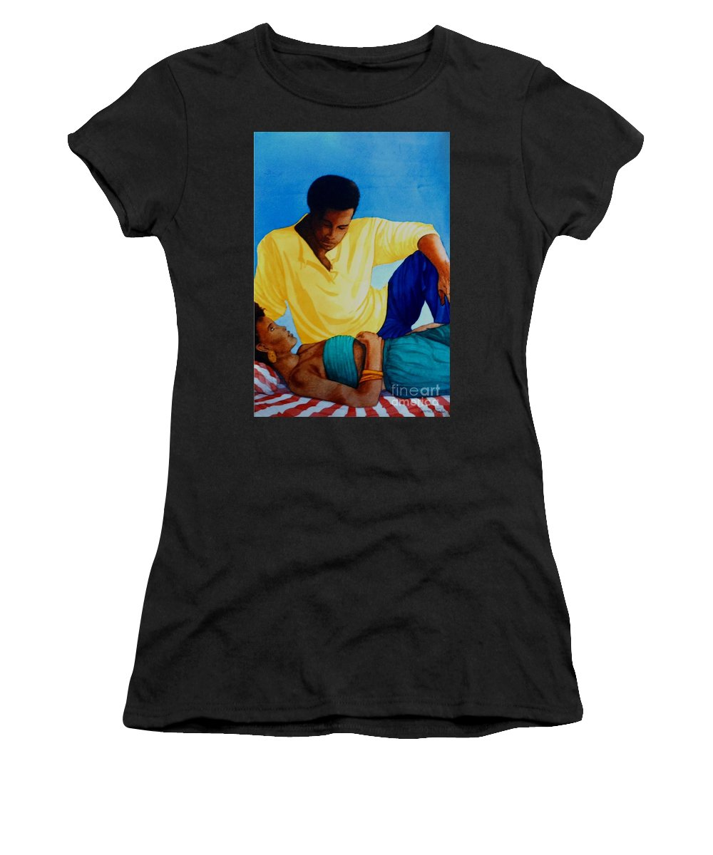 Watercolor Women's T-Shirt featuring the painting Here And Now by JL Vaden