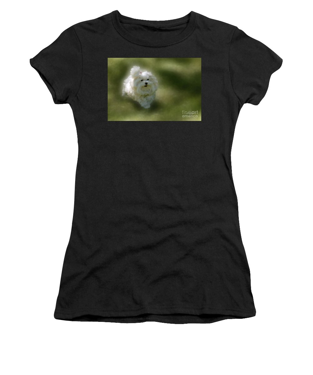 Dogs Women's T-Shirt (Athletic Fit) featuring the photograph Here She Comes by Lois Bryan