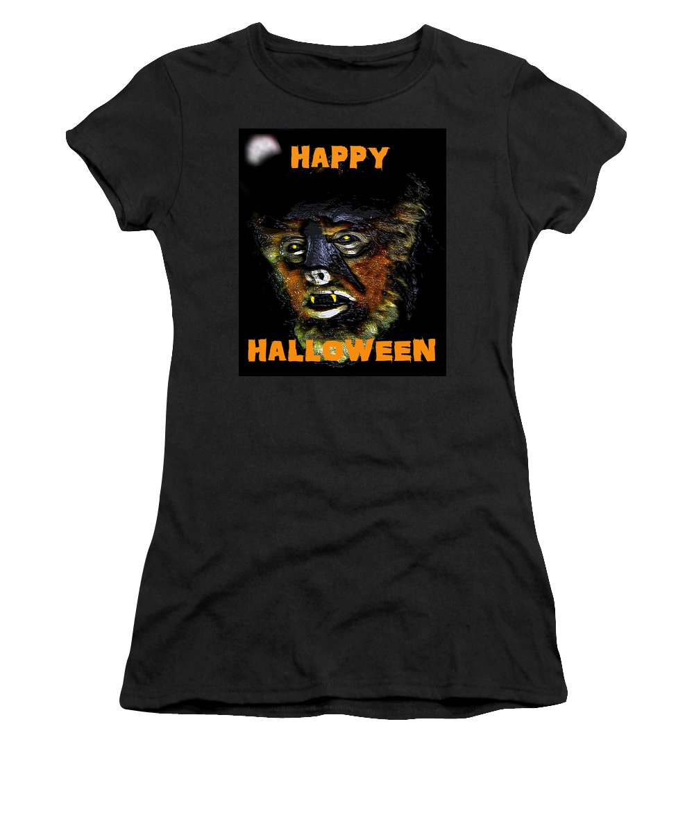 Wolf Man Women's T-Shirt featuring the painting Hh Wolfman Card Style by David Lee Thompson