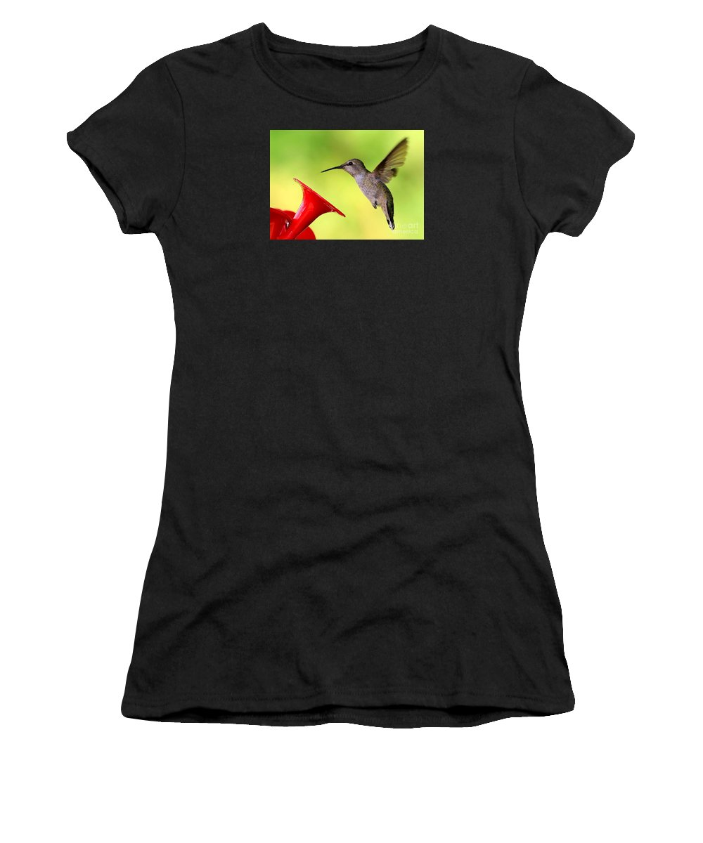 Hummingbird Women's T-Shirt (Athletic Fit) featuring the photograph High Flying Hummingbird by Carol Groenen