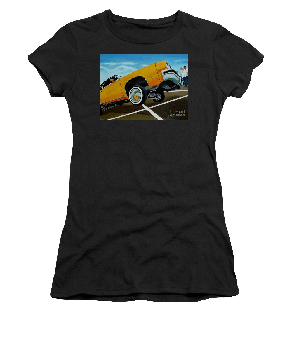 Chevy Women's T-Shirt (Athletic Fit) featuring the painting Hip Hoppin Chevy by Anthony Dunphy