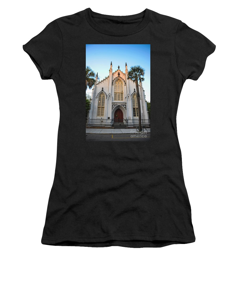 French Huguenot Women's T-Shirt featuring the photograph Historic Downtown Church by Dale Powell