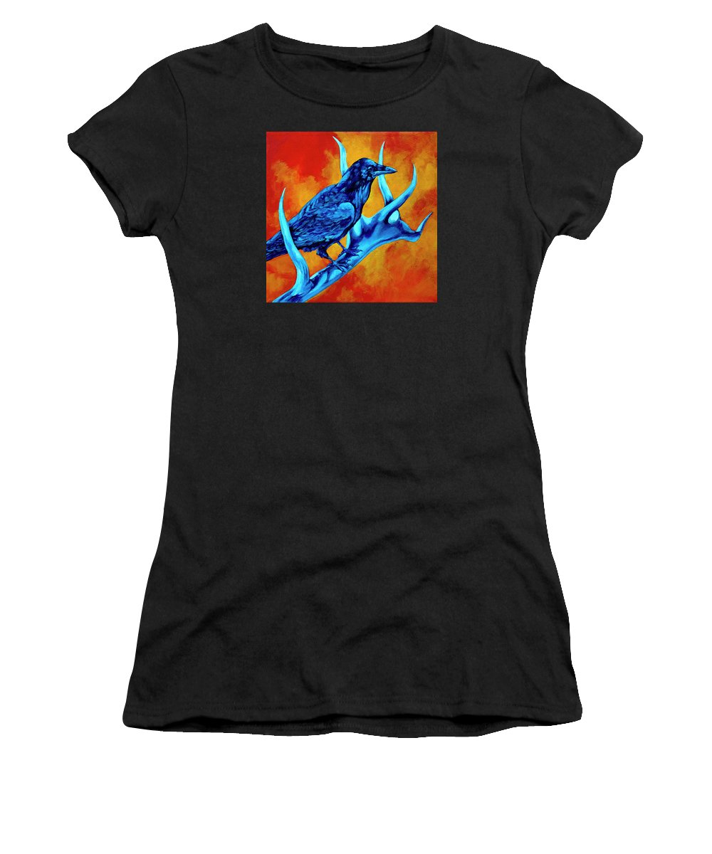Elk Women's T-Shirt (Athletic Fit) featuring the painting Hitchhiker by Derrick Higgins