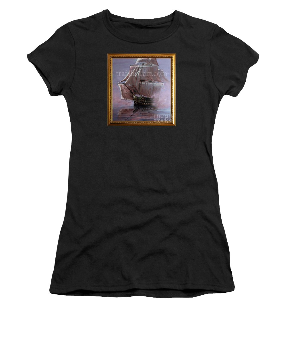 Battle Of Trafalgar Women's T-Shirt (Athletic Fit) featuring the painting Hms Victory 1765 39 X 36 Inch 100 X 91 Cm by Richard John Holden RA