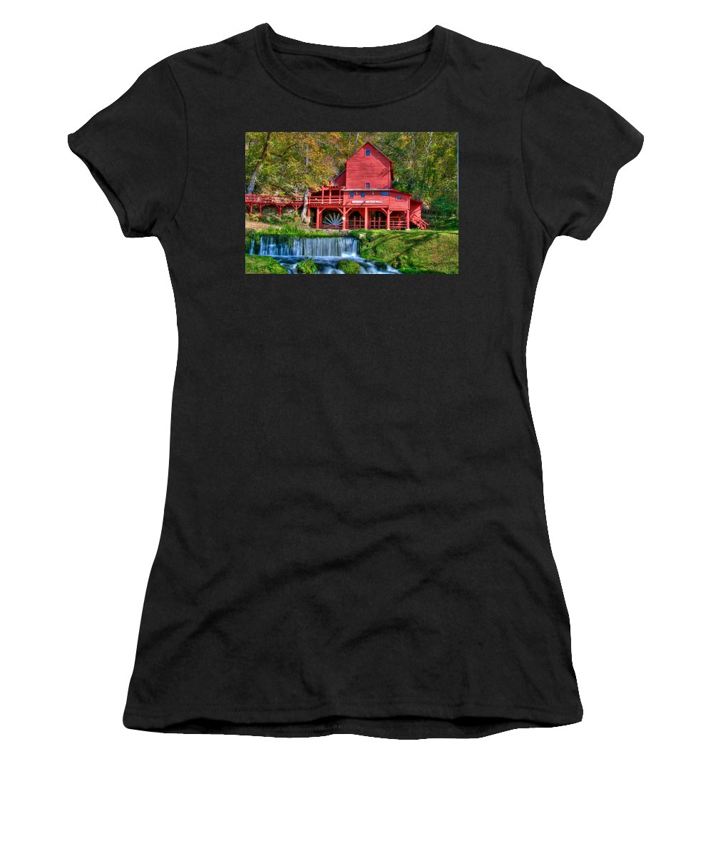 Grist Mill Women's T-Shirt (Athletic Fit) featuring the photograph Hodgson Mill by Steve Stuller