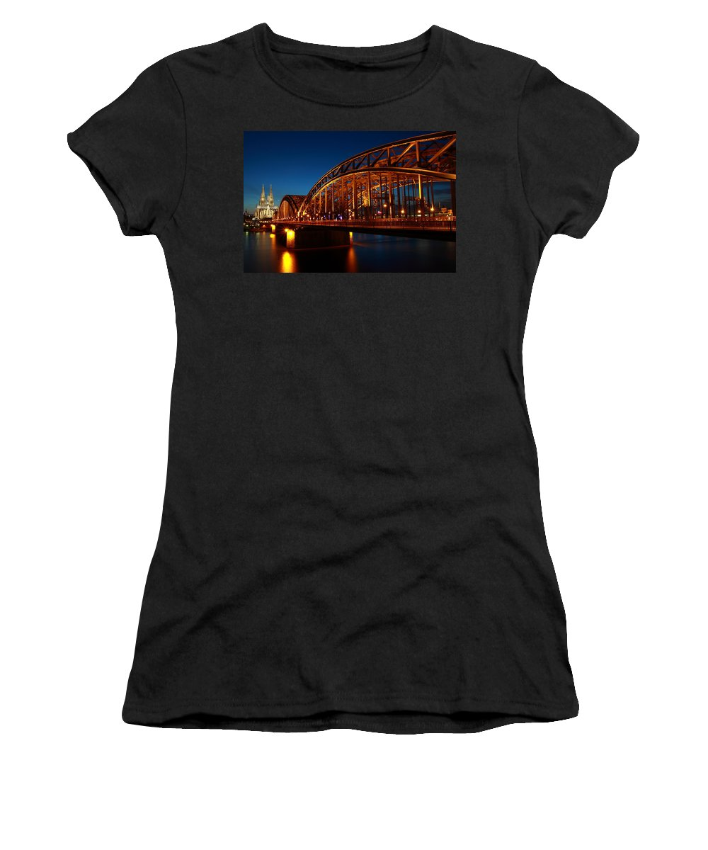 Horizontal Women's T-Shirt (Athletic Fit) featuring the photograph Hohenzollern Bridge by Mihai Andritoiu