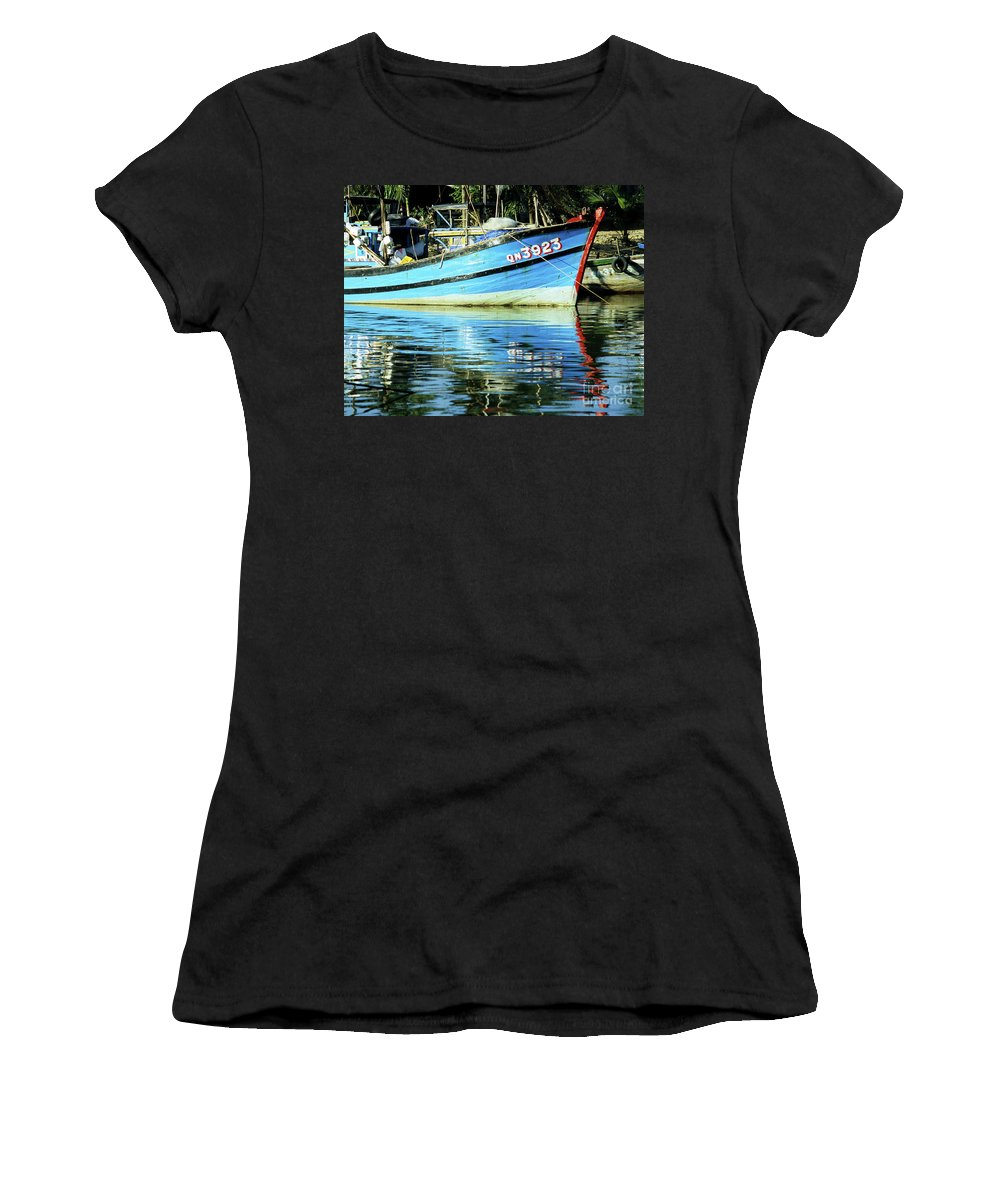 Vietnam Women's T-Shirt (Athletic Fit) featuring the photograph Hoi An Fishing Boat 01 by Rick Piper Photography