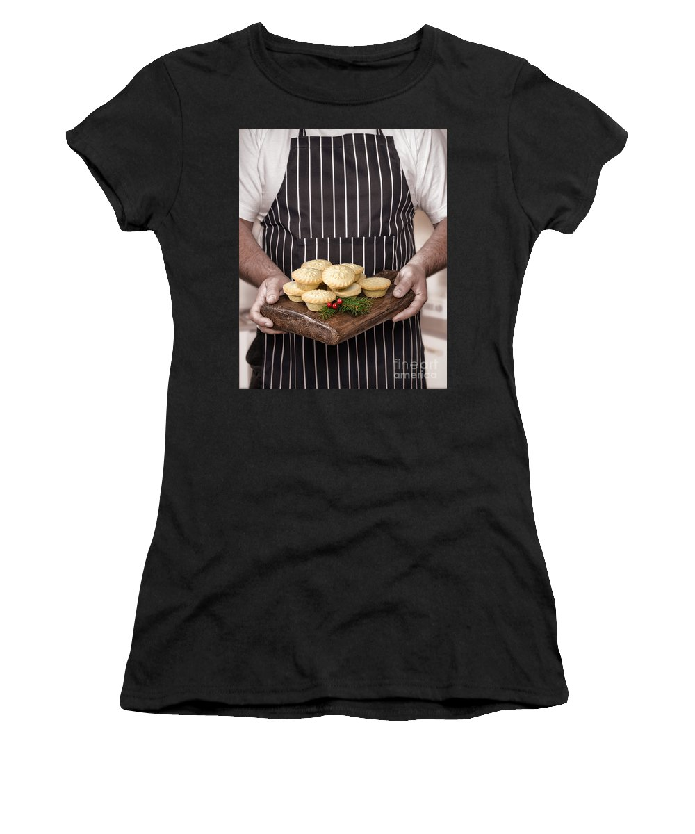 Mince Women's T-Shirt (Athletic Fit) featuring the photograph Holding Mince Pies by Amanda Elwell