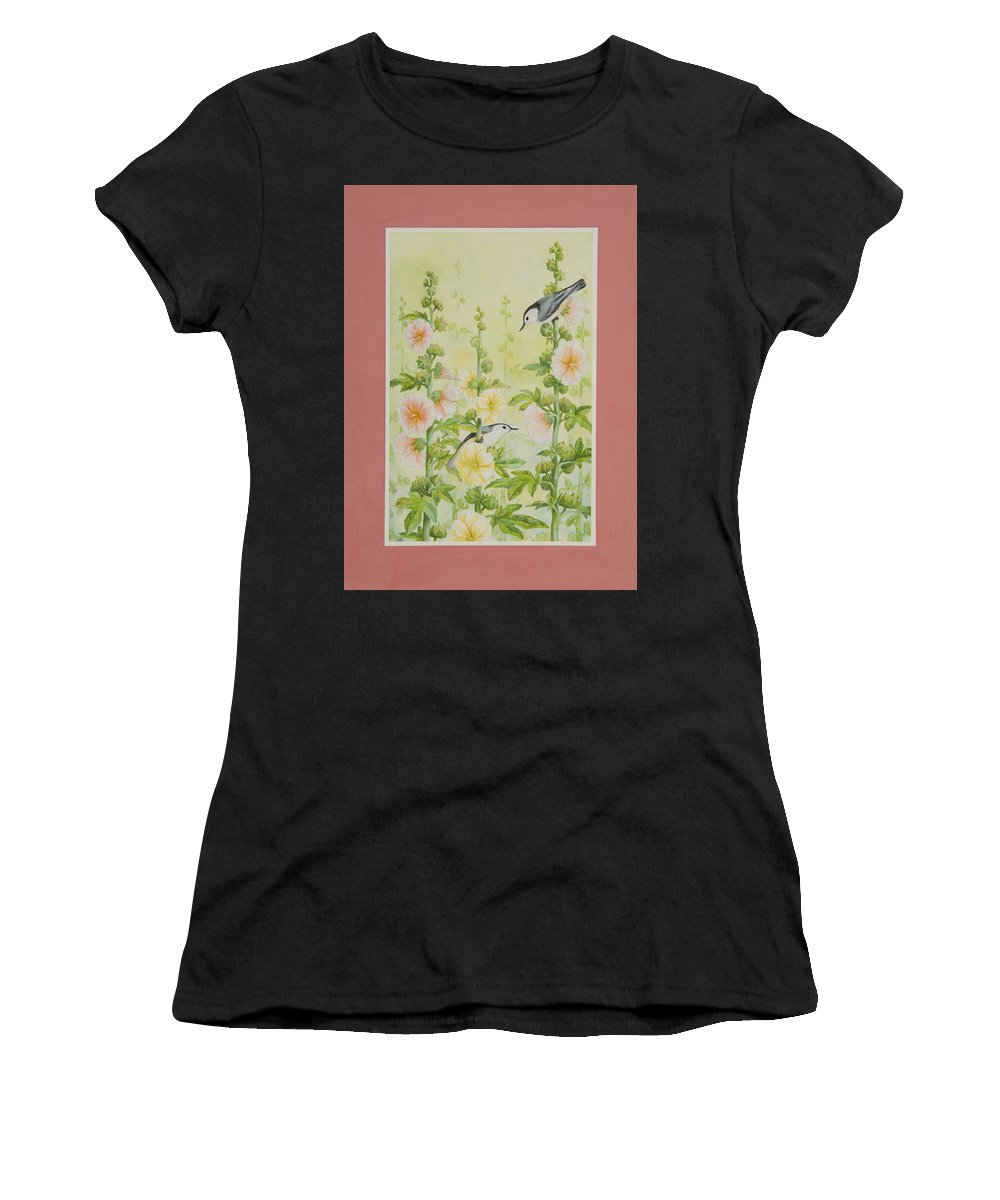 Hollyhocks Women's T-Shirt (Athletic Fit) featuring the painting Hollyhocks And Nuthatches by Lynn Bywaters