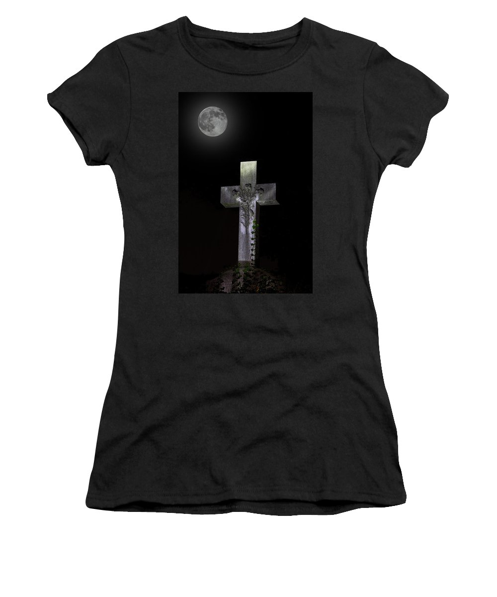 Hollywood Cemetery Full Moon Women's T-Shirt (Athletic Fit) featuring the photograph Hollywood Cemetery Full Moon by Jemmy Archer