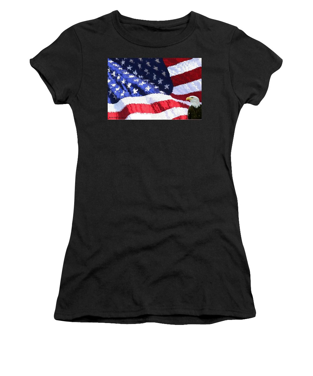 Flag Women's T-Shirt (Athletic Fit) featuring the painting Home Of The Brave by Bruce Nutting