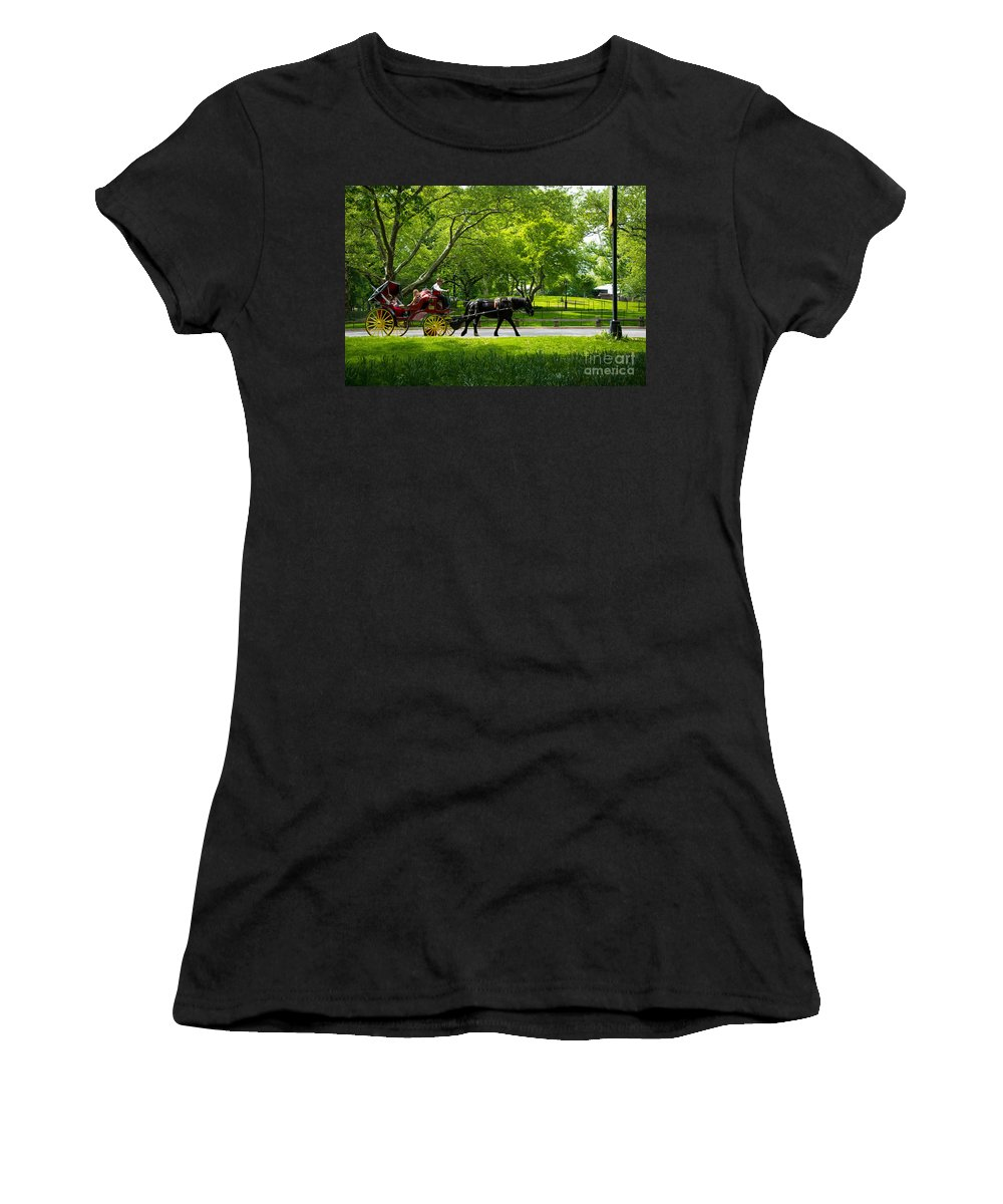 Central Park Women's T-Shirt featuring the photograph Horse And Carriage Central Park by Amy Cicconi