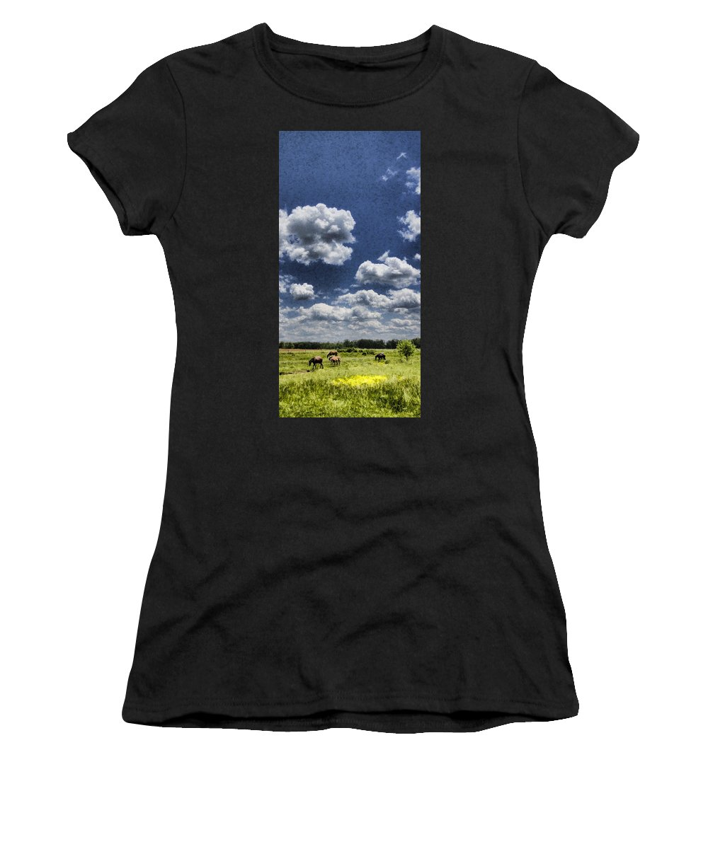 Horses Women's T-Shirt (Athletic Fit) featuring the photograph Horse Delight by Kathy Clark