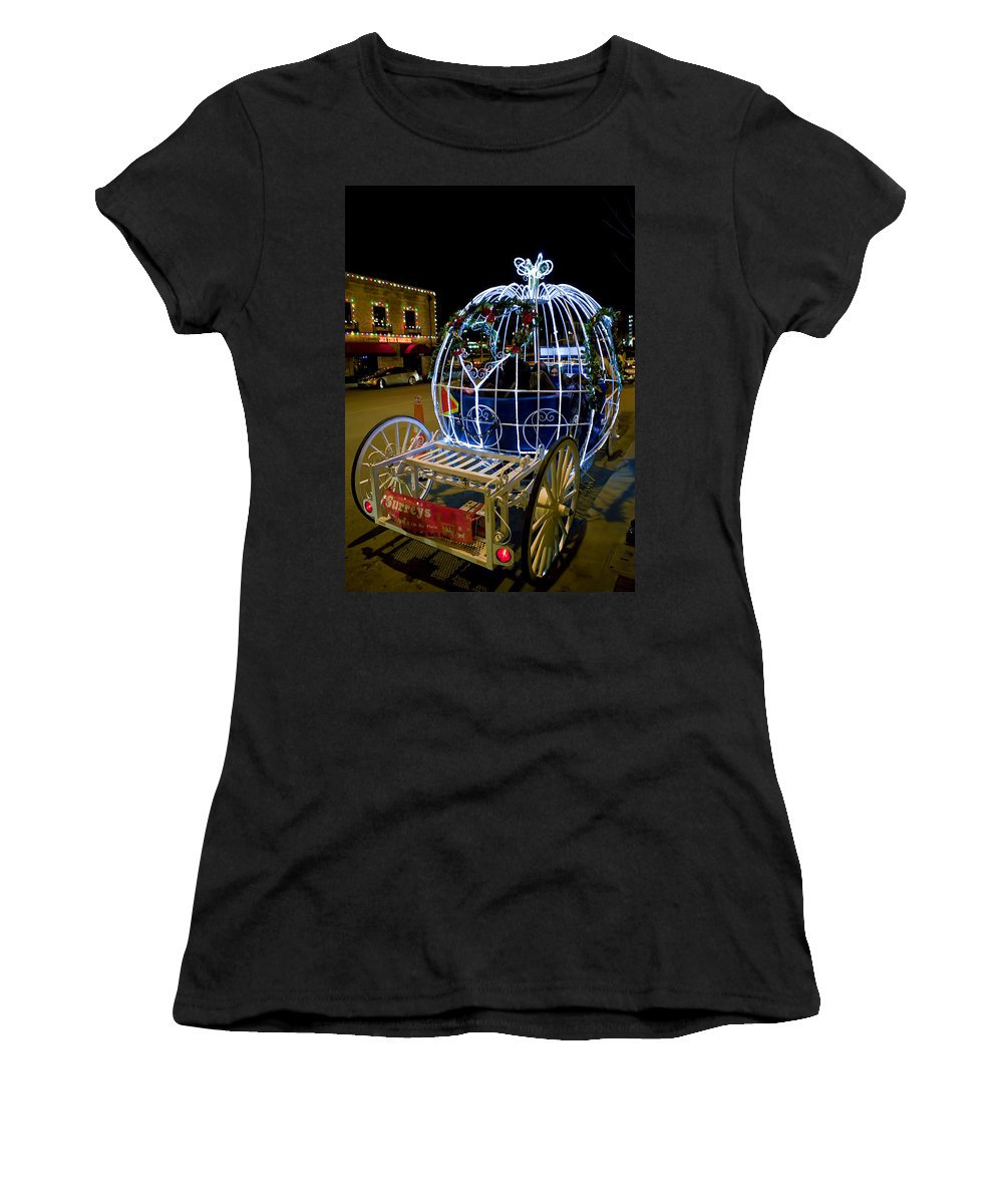 Horse And Carriage Women's T-Shirt (Athletic Fit) featuring the photograph Horse Drawn Carriage by Sennie Pierson