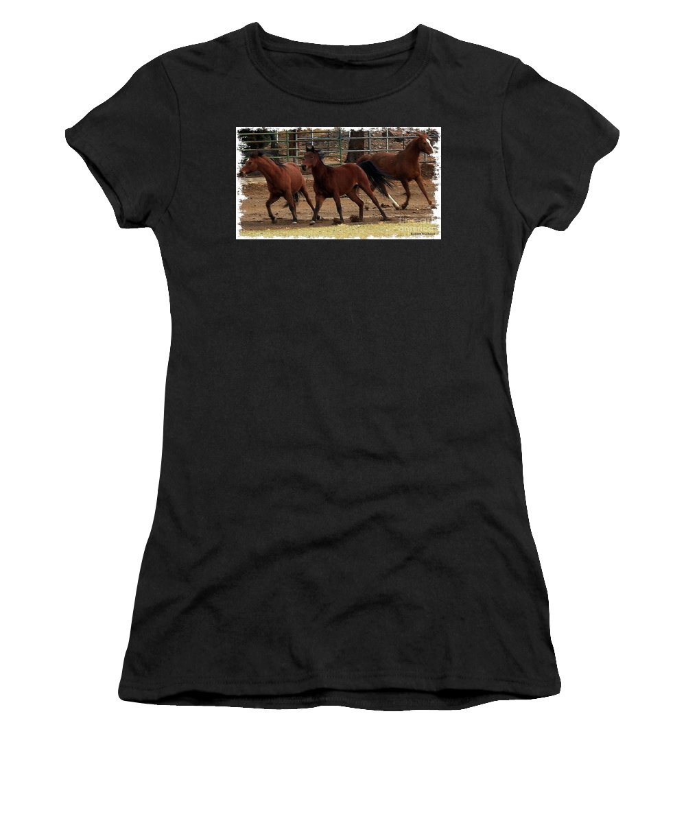Acrylic Prints Women's T-Shirt (Athletic Fit) featuring the photograph Horse Play Painting by Bobbee Rickard