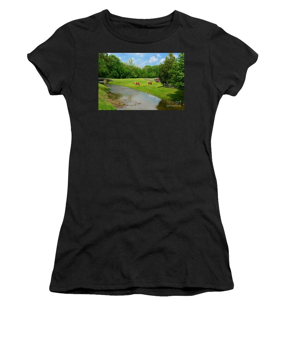Paul Ward Women's T-Shirt (Athletic Fit) featuring the photograph Horses At Home On The Range by Paul Ward