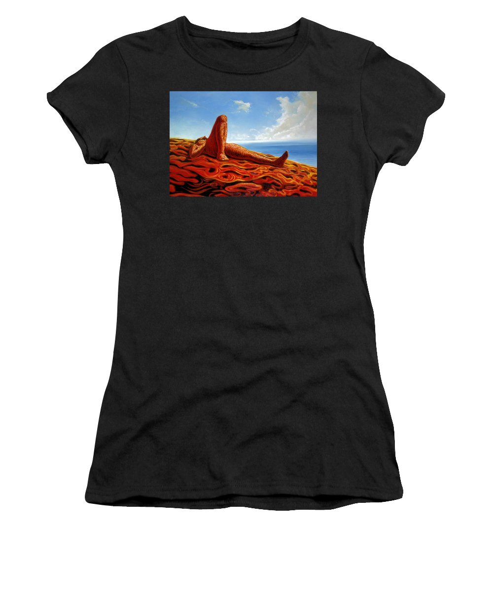 Genio Women's T-Shirt featuring the painting Hot As The Sun by Genio GgXpress