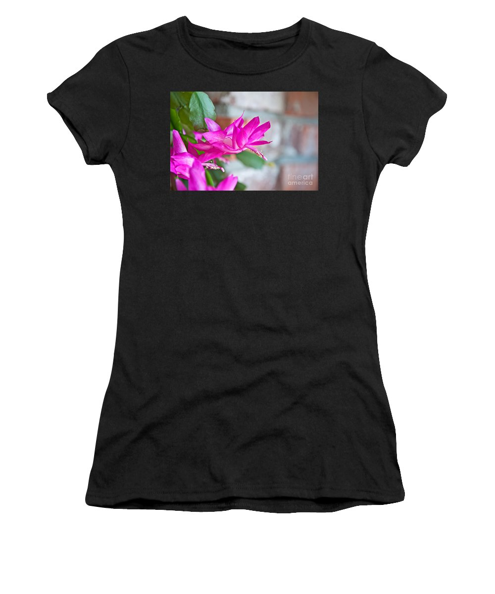 Flower Women's T-Shirt (Athletic Fit) featuring the photograph Hot Pink Christmas Cactus Flower Art Prints by Valerie Garner