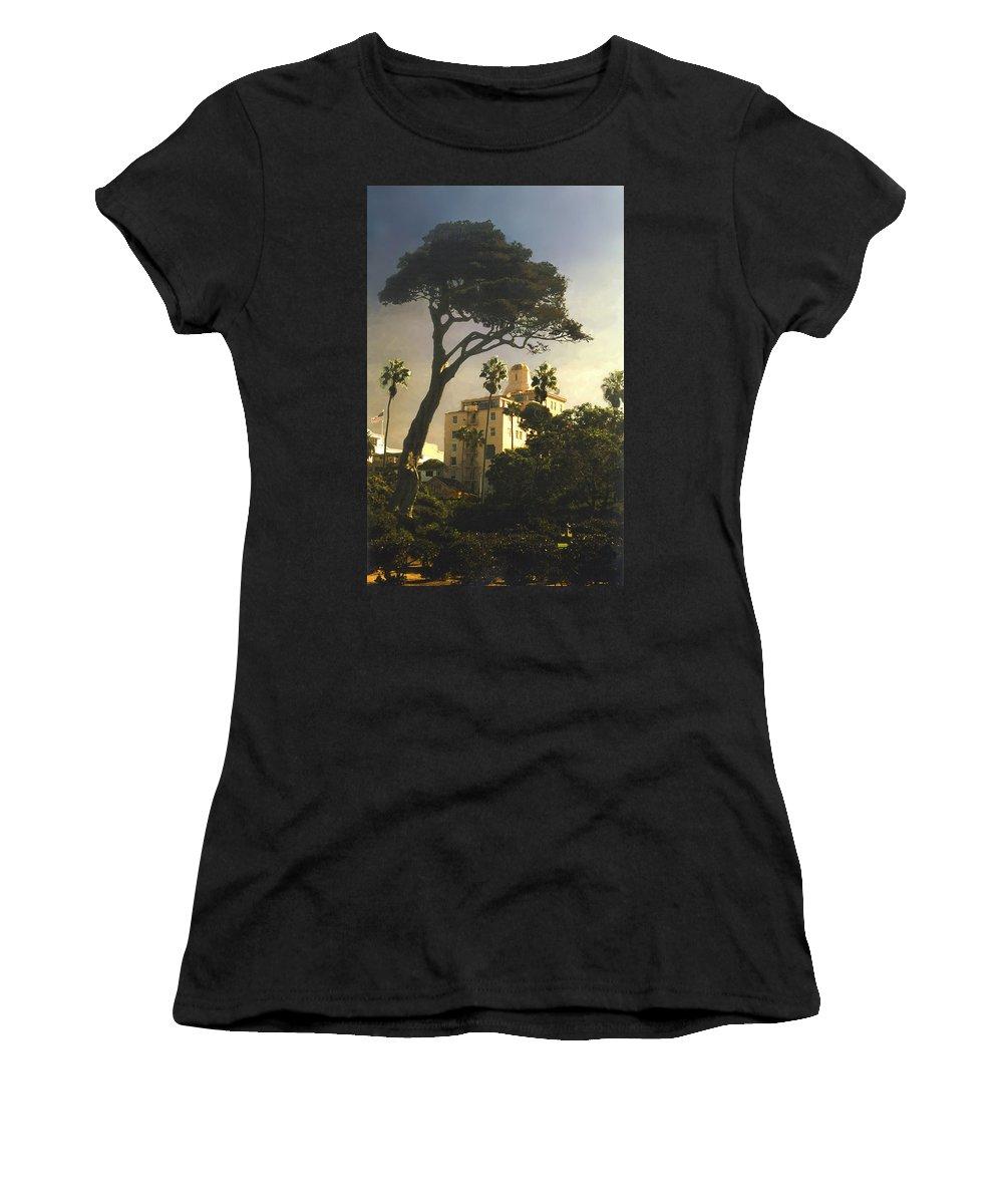Landscape Women's T-Shirt (Athletic Fit) featuring the photograph Hotel California- La Jolla by Steve Karol