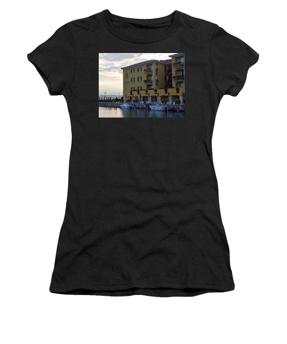 Francacorta Women's T-Shirt featuring the photograph Hotel Sirmione. Lago Di Garda by Jouko Lehto